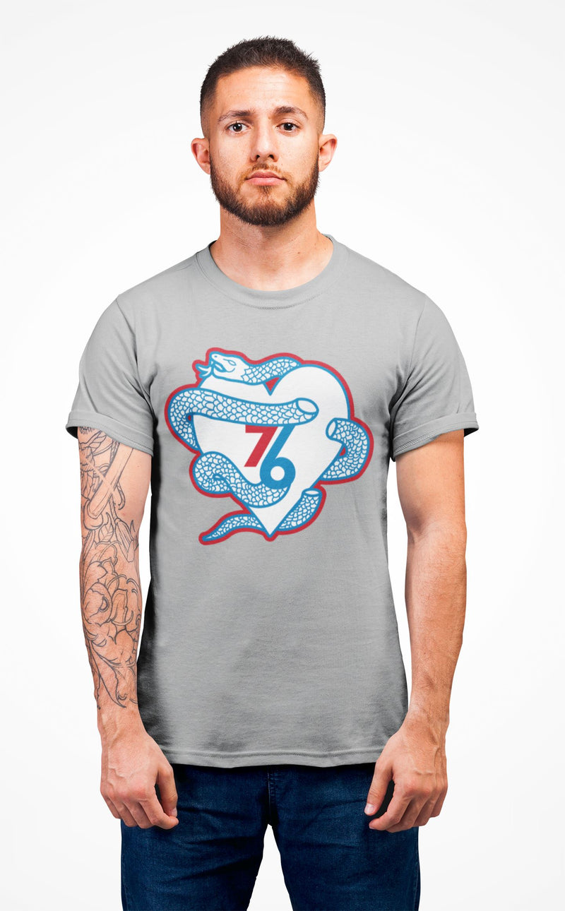 Sixers Snake Heart T-Shirt Phan Tees Heather Grey XS