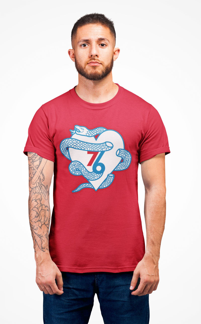 Sixers Snake Heart T-Shirt Phan Tees Solid Red XS