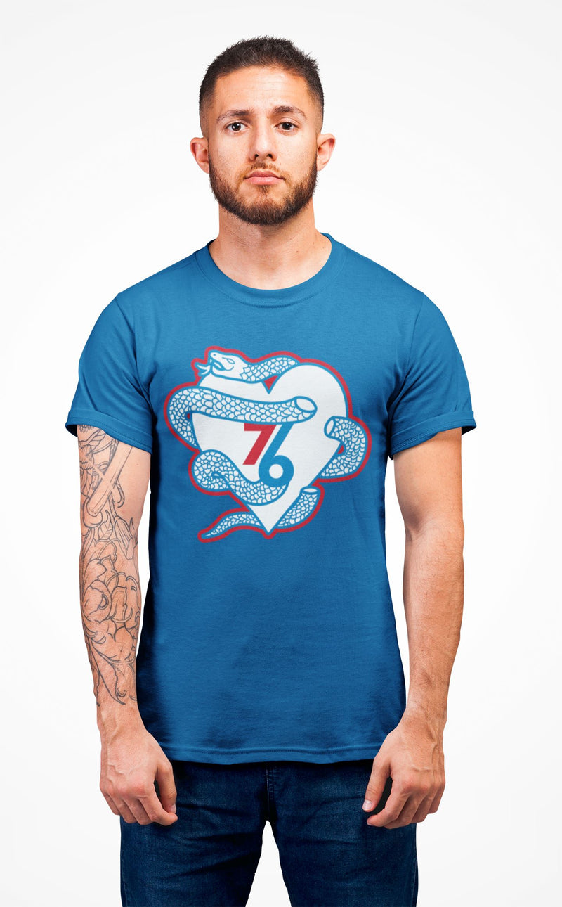 Sixers Snake Heart T-Shirt Phan Tees Solid Cool Blue XS
