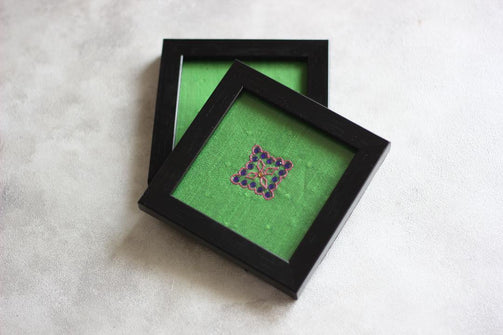 Green Solid Square Motif Stone Blue - CraftWeaver's Studio