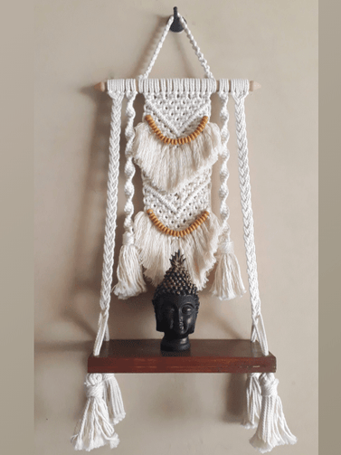 Macrame Floating Wall Shelf - Design 2 - CraftWeaver's Studio