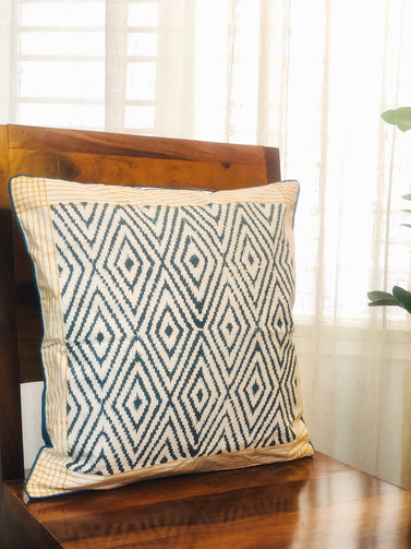 Blue Orange Diamond Block Print Cushion Cover - CraftWeaver's Studio