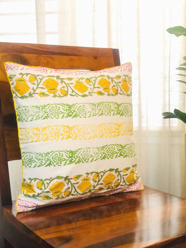 Multicolour Block Print Cushion Cover - CraftWeaver's Studio