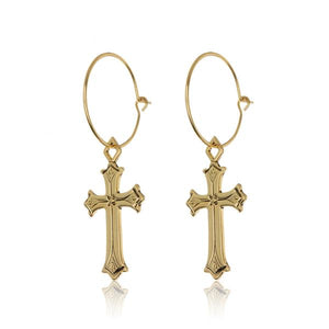 Isidore Gold Cross Hoops