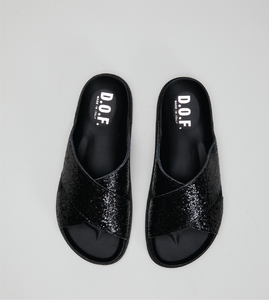 Isla slide black glitter
