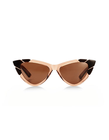 Piccolo & Grande Brown Chocolate Clear Cat Eye Sunglasses