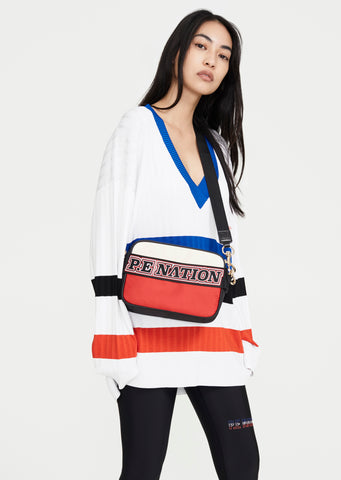 Shoulder Bag with handstrap Blue / Black / Red