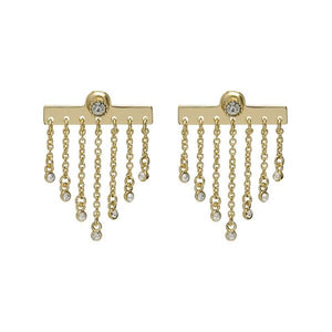 Bezel Diamond Ear Gold Jacket Stud Earring