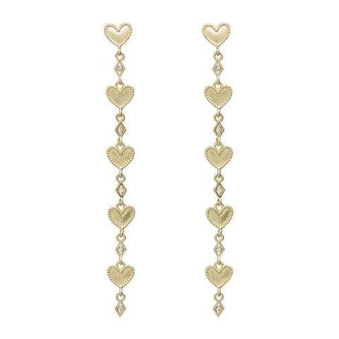 The Dotted Heart Drop Studs Gold