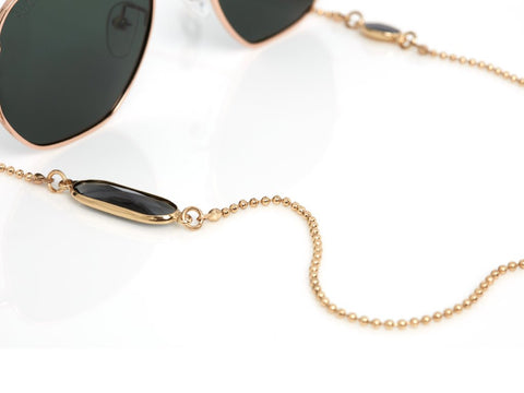 Gold Chain With Black Stone Sunny Cords Chain