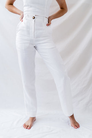 Frida White Linen Pants