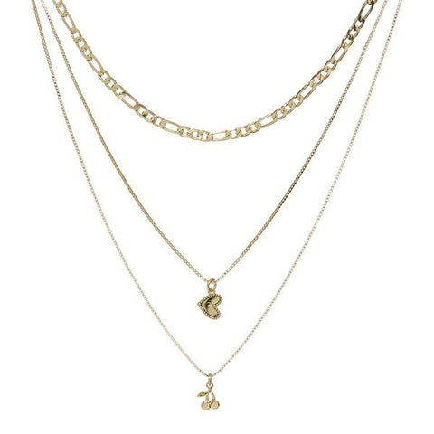 Triple Cherry Heart Charm Necklace Gold