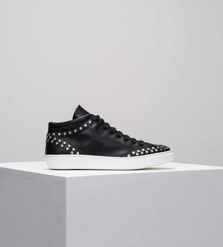 Johnny Hi Top Black Leather Studded Sneaker