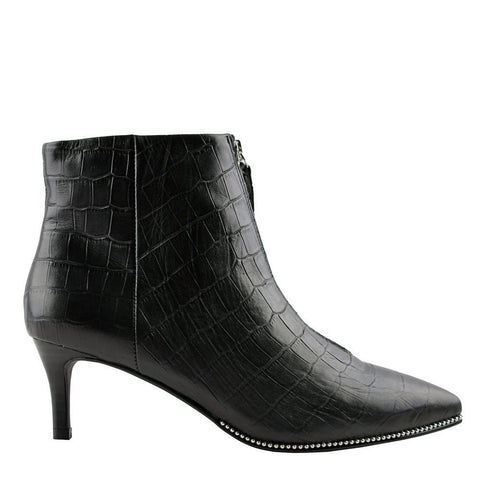 Felix Black Leather Croc Boot