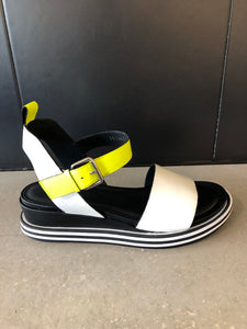 Sandal White/Neon Yellow black/white sole
