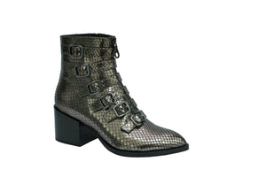 Piper Metallic Antracite Leather Boot