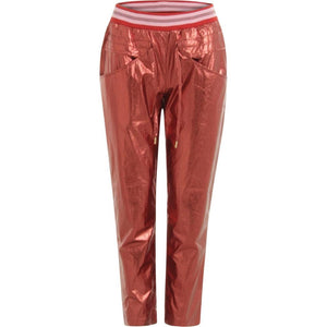 Pants in Red Lurex Nylon w. Lurex Rib Elastic