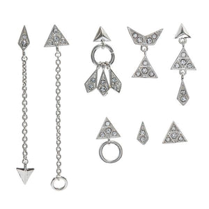 Pave Kite Earring Silver Set