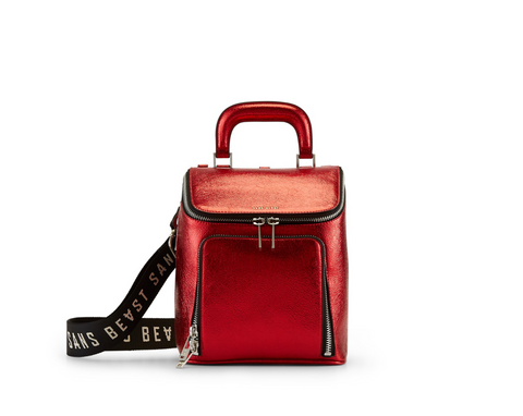Metallic Rouge Brief Liaison Tote Vegan Leather