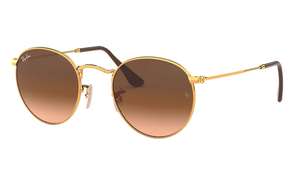 Round Metal Arista w/ Pink/Brown Gradient Sunglasses