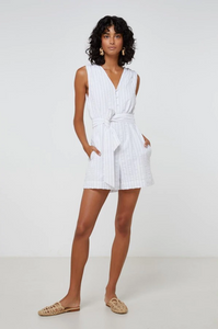 Amal jumpsuit white/black pinstripe