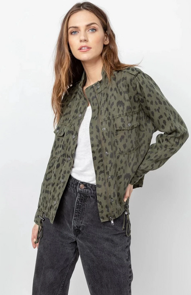 Collins green Leopard Jacket