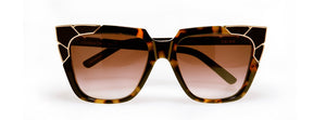 Charle & Angels Dark Tortoise With Gold Corners and Black Inlay/Brown Gradient Lenses