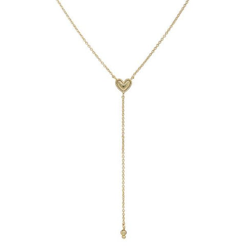 Studded Heart Lariat Gold