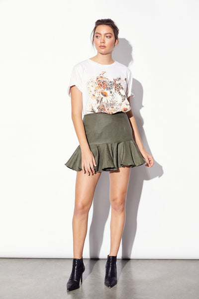 Zepplin Linen Green Skirt