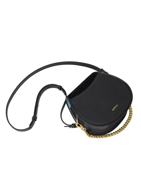 The Ellea Mini Black Leather Saddle Bag