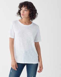 Zoe White Short Sleeve Crew Neck Top Was $89 Now $49