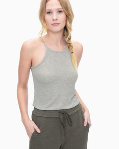 Marina Heather Grey High Neck Tank Top