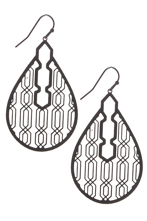 Lattice Cut Teardrop Earrings - Black