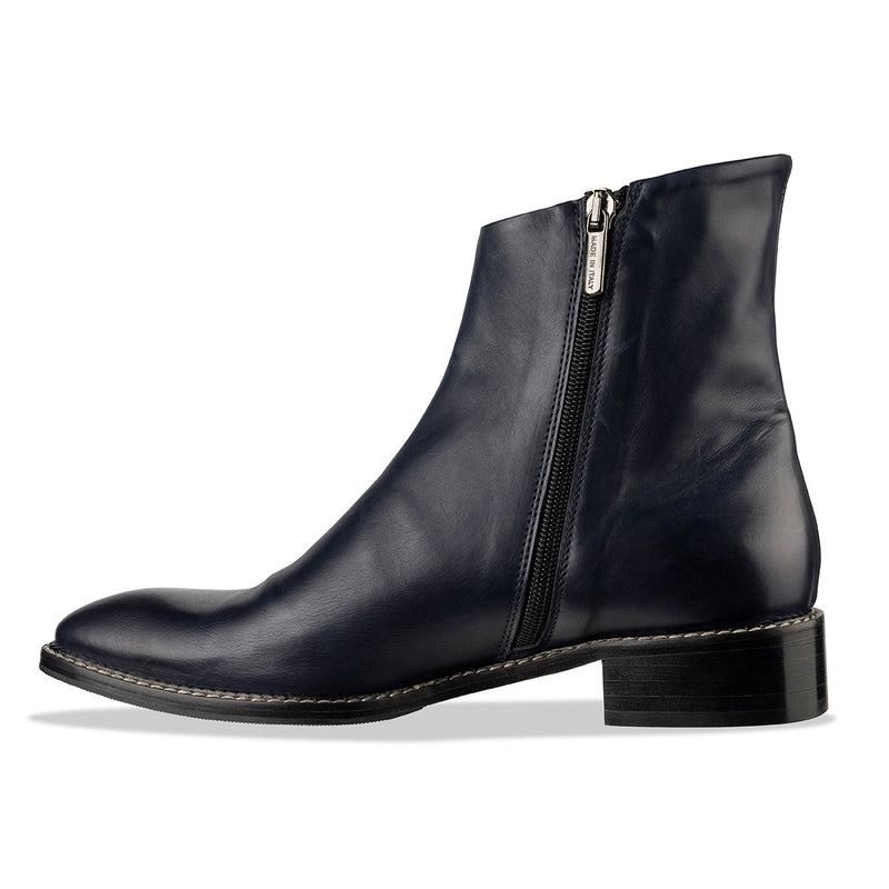 a97c04fc0ab Moro' Women's Flat Ankle Boots - Navy Italian Leather | habbot