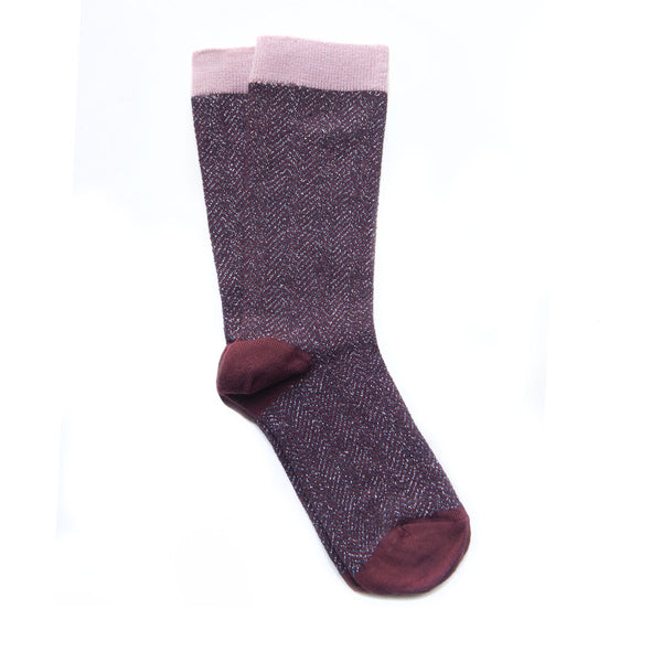 chevron sock - chocolate
