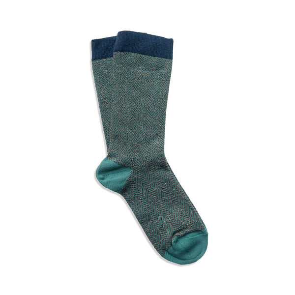 chevron sock - green