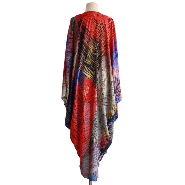 "by VINNIK Coloratura Cape in ""Gabriella"" Red, Gray, Blue and Yellow Print"
