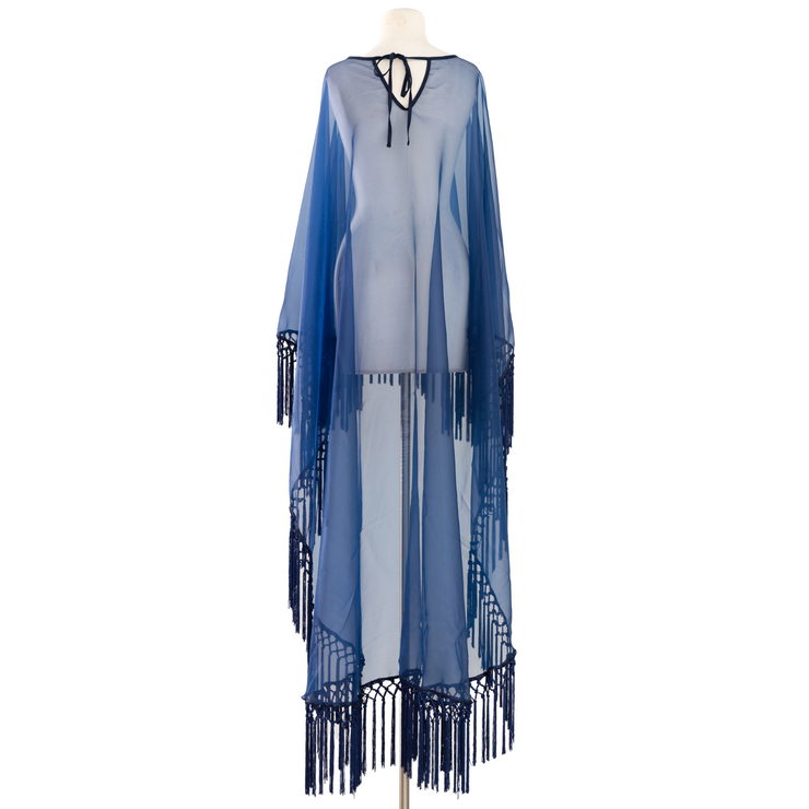 "by VINNIK Adagio Cape in ""Navy Blue Organza with Macrame Fringe"""