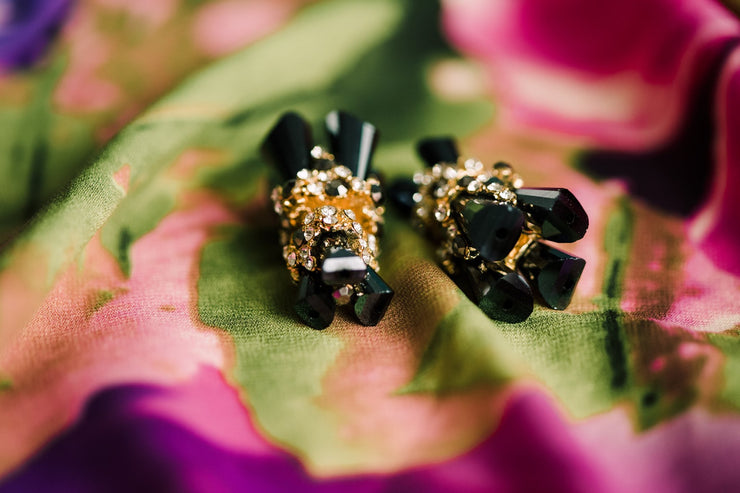 """Black Holographic"" Swarovski Crystal Double Sided Ear Jackets"