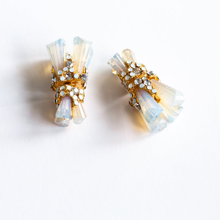 """Opalite Holographic"" Swarovski Crystal Double Sided Ear Jackets"