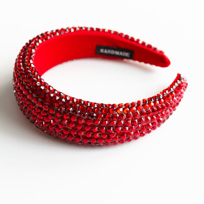Ruby Red Padded Rhinestone Headband