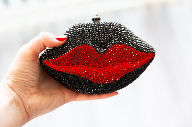 TARA:  Crystal Mini Kiss Clutch