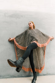 "byVINNIK Adagio Cape in ""Leopard Organza with Rose Fringe"""