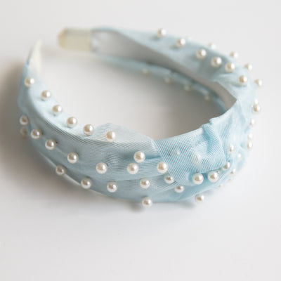 Pale Blue Pearl Knotted Headband