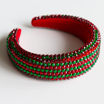 Holidiva Red and Green Padded Rhinestone Headband