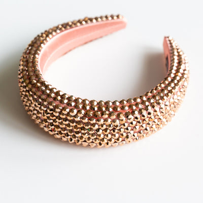 Rose Gold Padded Rhinestone Headband
