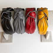 Yellow Faux Leather Knotted Headband