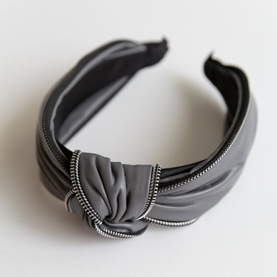 Grey Faux Leather Knotted Headband