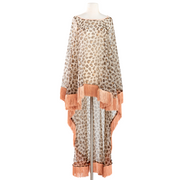"by VINNIK Adagio Cape in ""Leopard Organza with Rose Fringe"""