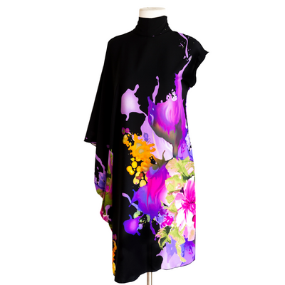 "by VINNIK ""J'Nai"" Cavatina Dress Black with Purple Floral Explosion"
